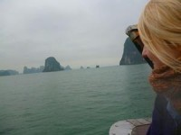 girl looking out at Halong Bay, Vietnam
