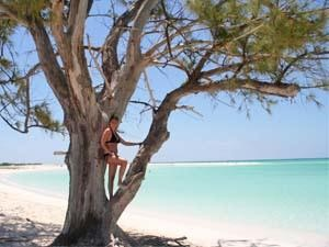 Woman stood in a tree at the edge of the shore on a sandy Cuba beach