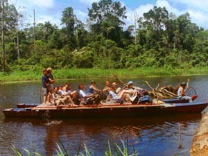 customers on boat on the river