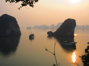 View at sunset of Bai Tu Long Bay in Vietnam