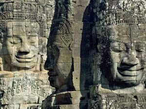 Faces on the wall of the Angkor Wat temple