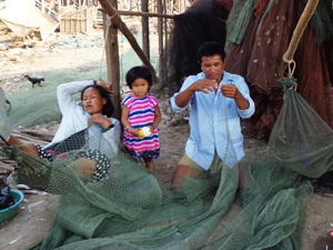 Family of the home stay in Tonle Sap Cambodia