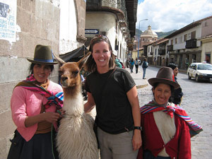Woman with smiling peru locals