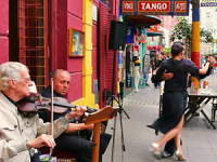 Street musicians playing in Buenos Aires Argentina