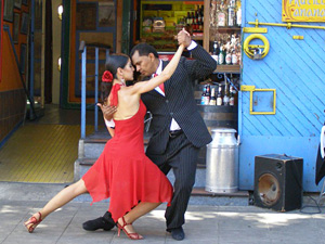 Couple dancing the tango in the street in Buenos Aires Argentina