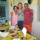 rickshaw staff ceri with local family at casa in cuba