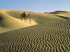 Distant view of a man walking a camel in the India Thar Desert