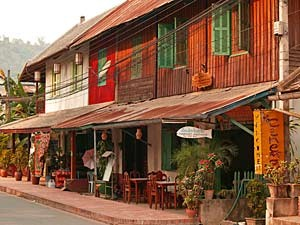 small village with outdoor restaurant