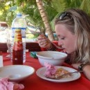 Chloe eating soup in Malaysia
