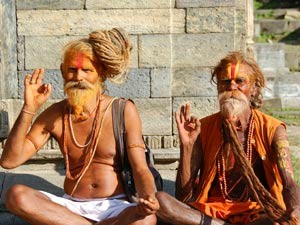 local holy men seated in Kathmandu in Nepal