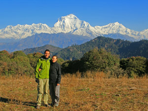 customers standing in front of himalayas