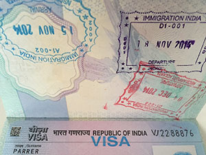 india visa and passport stamps