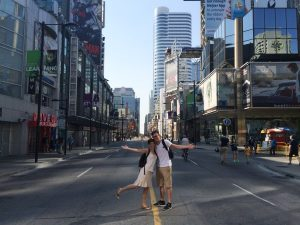 Couple posing in the middle of the street