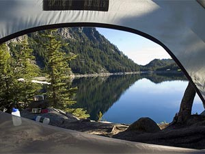 Looking out at the view from inside a tent