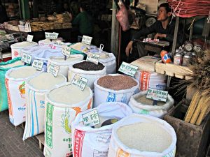 Rice bags in Siem Reap Market